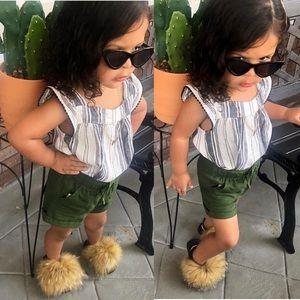 Real fur sandal for infants and girls